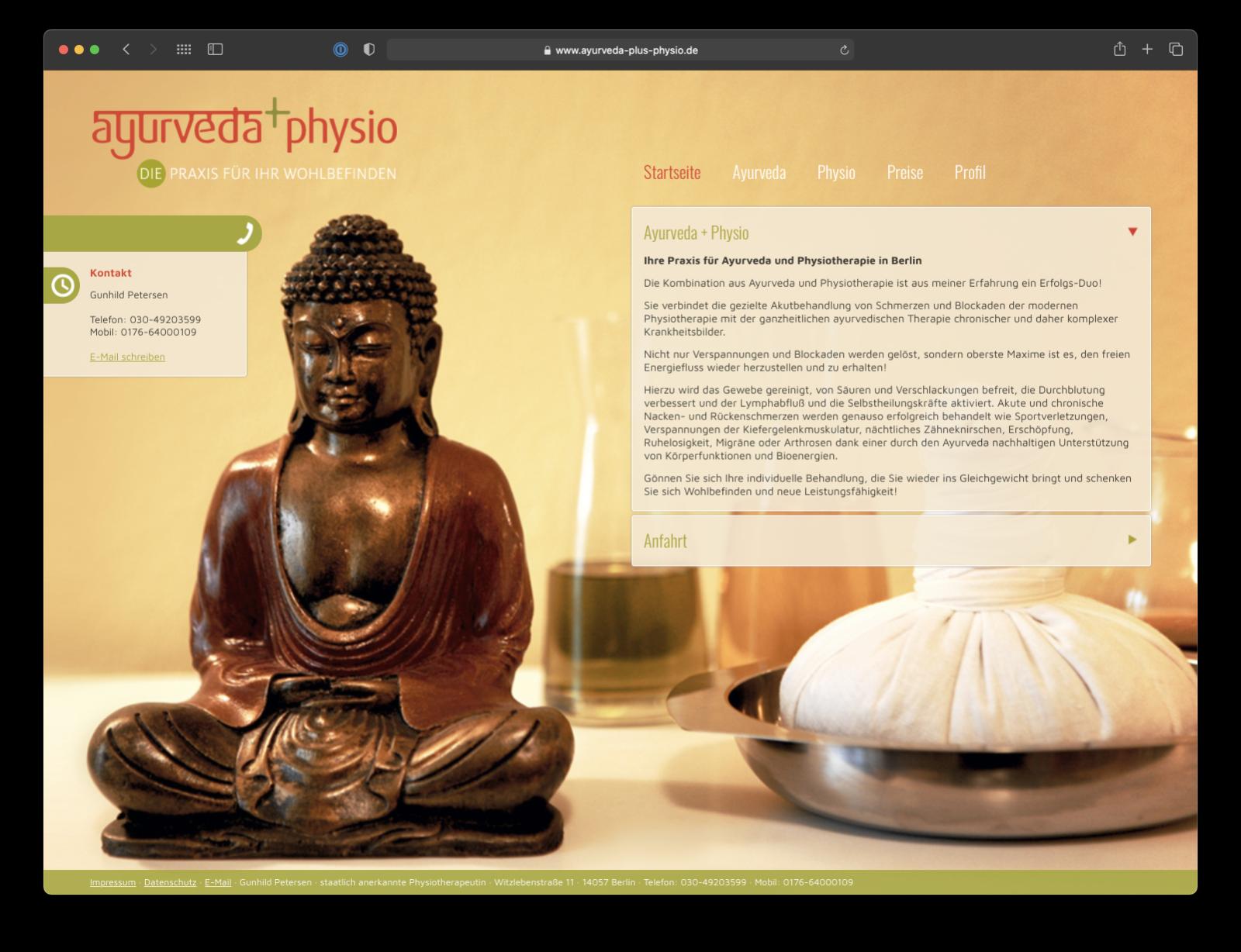 Umsetzung Webdesign Ayurveda+Pysio