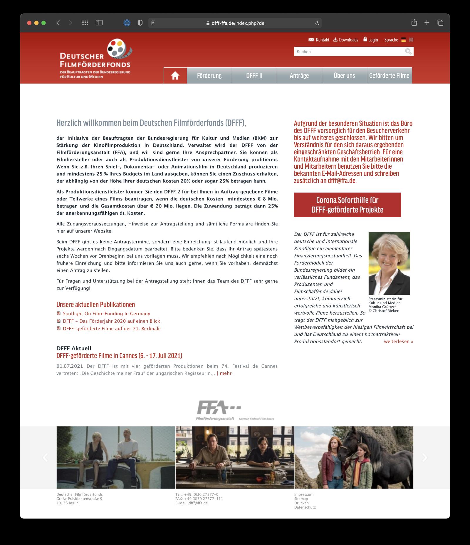 Umsetzung Webdesign CMS für DFFF
