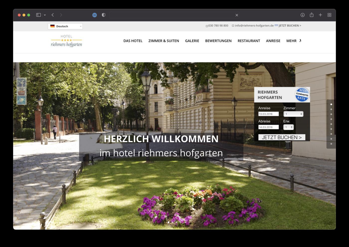 Umsetzung Webdesign hotel riehmers hofgarten