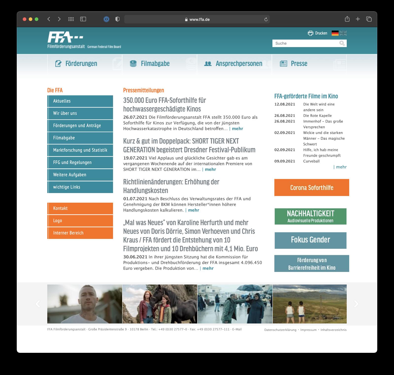 Umsetzung Webdesign CMS für FFA