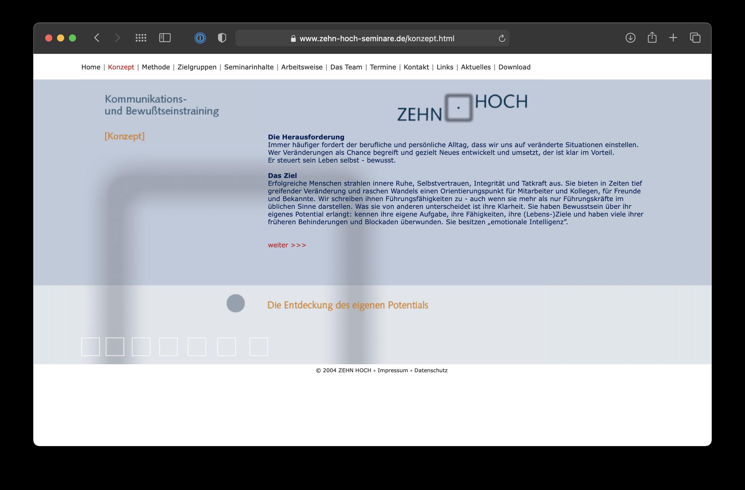 Umsetzung Webdesign Zehn Hoch Seminare