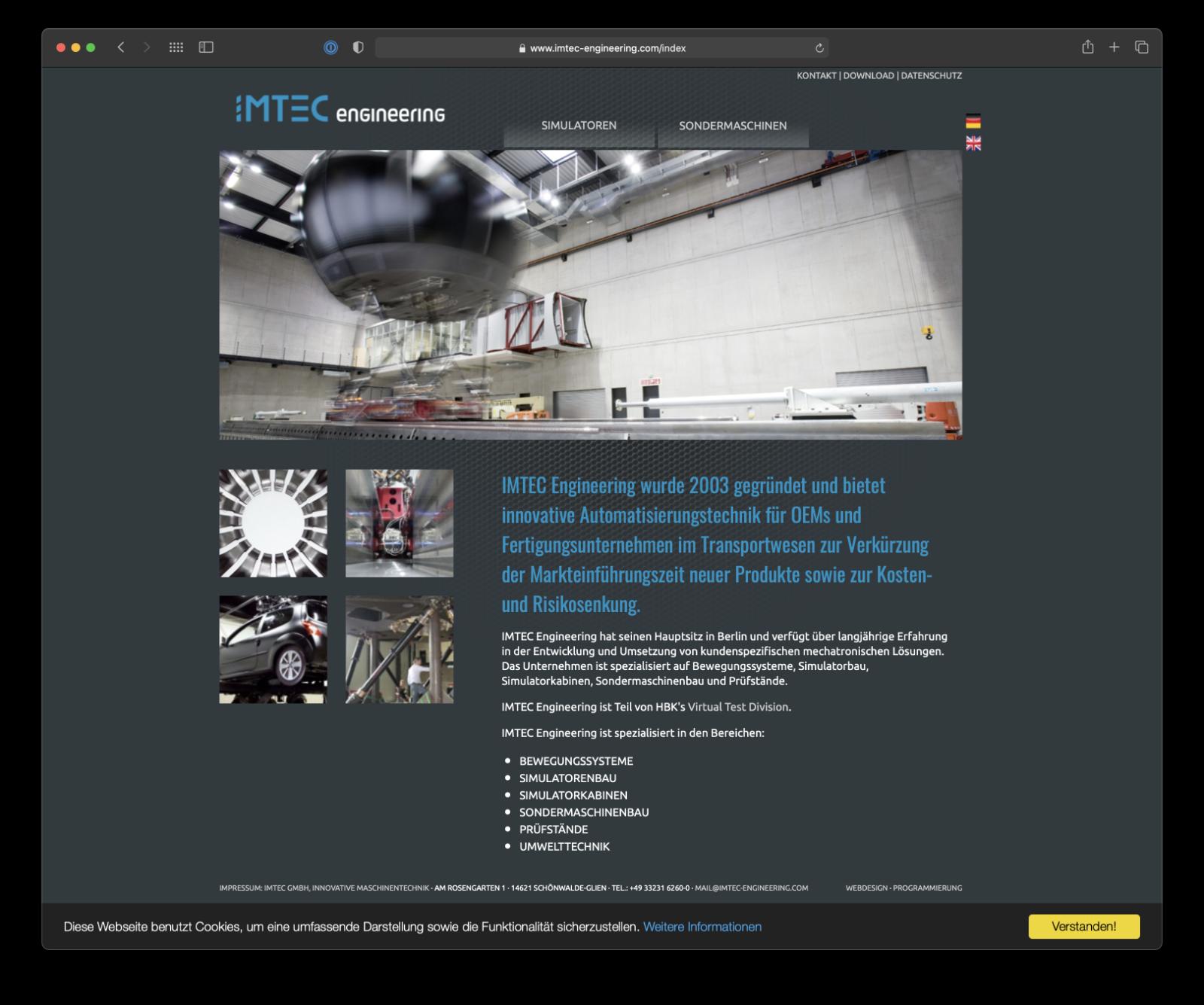 Umsetzung Webdesign imtec engineering