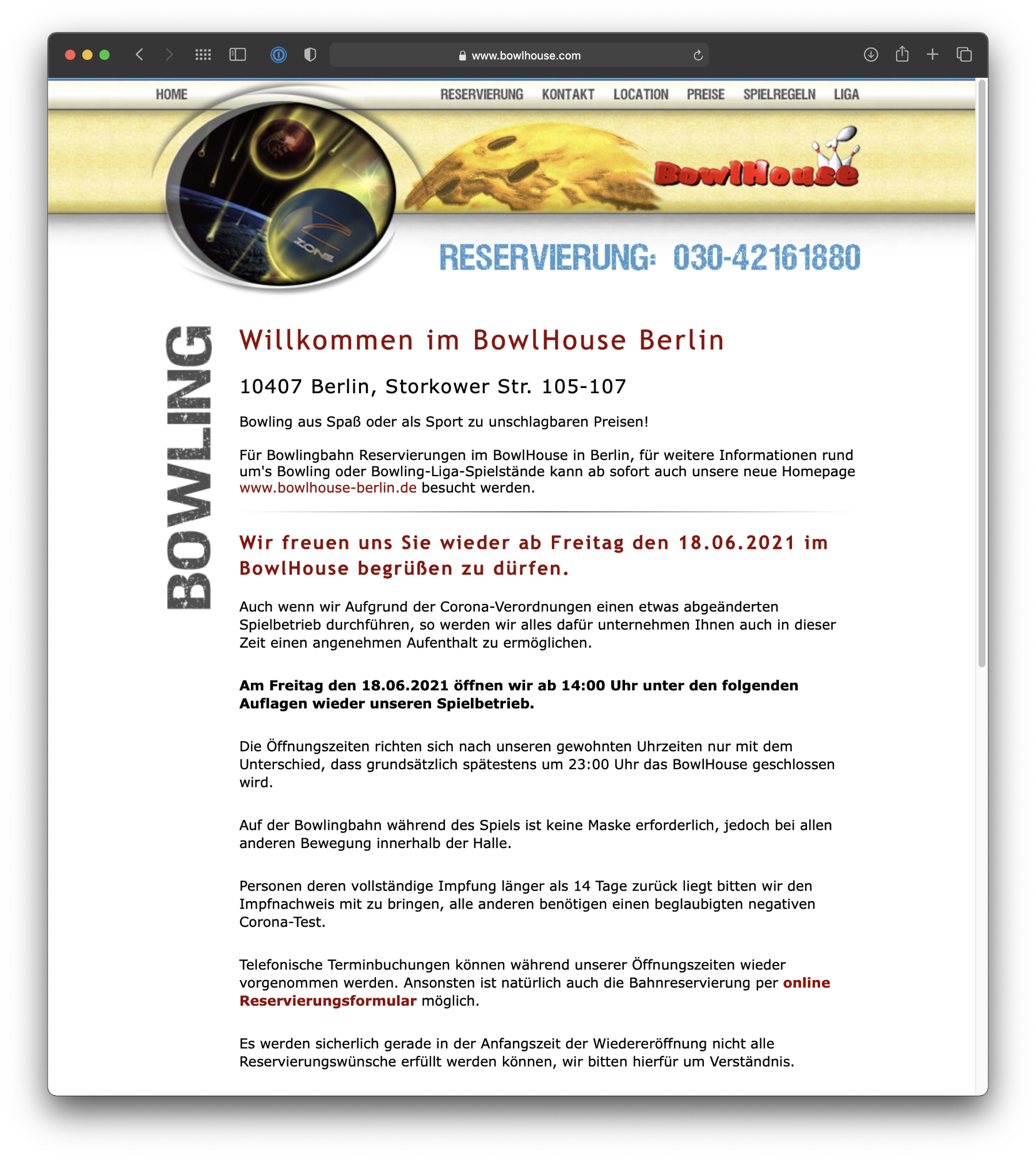 Umsetzung Webdesign BowlHouse
