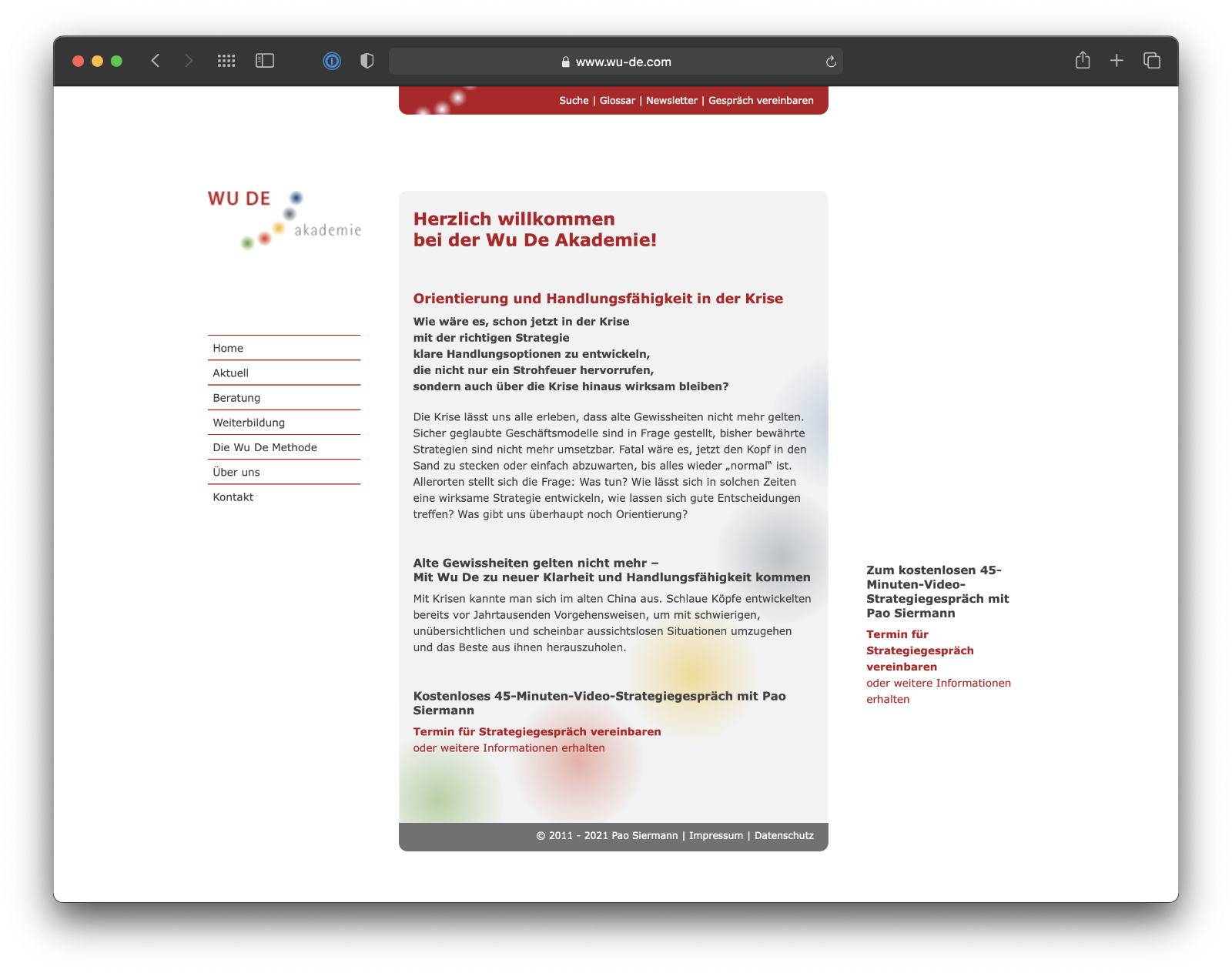 Umsetzung Webdesign Wu De Akademie