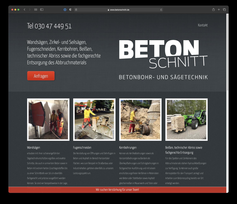 Umsetzung Webdesign Betonschnitt